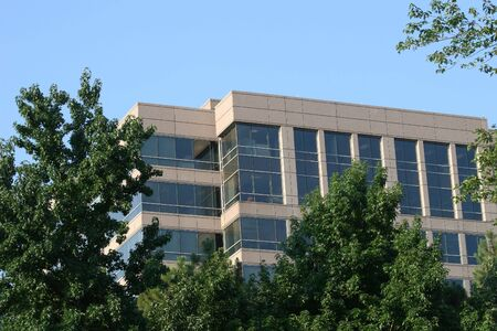 Office tower in trees