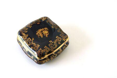 Blue ceramic pill box Stock fotó