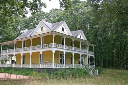 victorian house: Old abandoned victorian house in woods