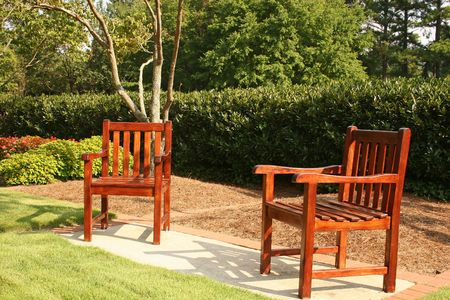 Two empty chairs in public park Stock Photo - 509755