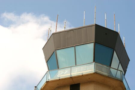 Control tower at small airport Stock Photo
