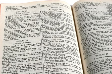 King James version Bible opened to 23rd Psalm