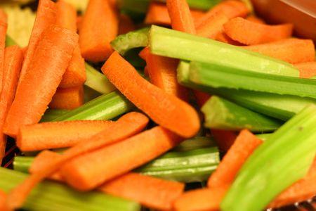 Carrot and celery sticks cut up for crudites photo