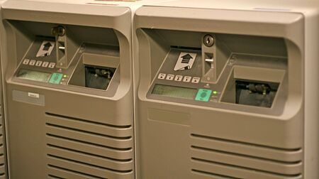 Two Airline ticket printers at corporate travel agency