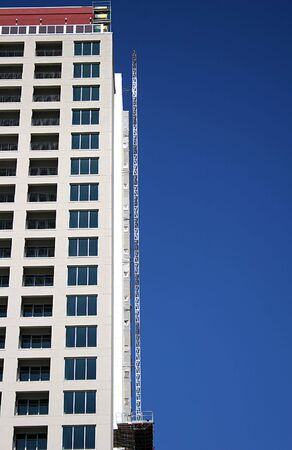 Construction scaffold on side of high rise condominium project Stock Photo - 614706