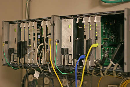 switching: A business telephone system switching system Stock Photo