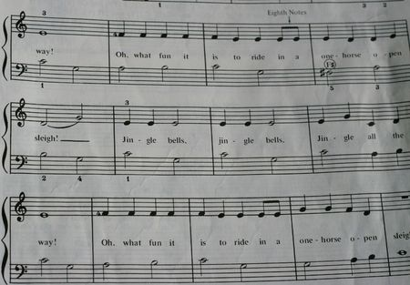 Close up of old copy of sheet music of jingle bells photo