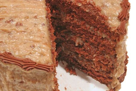 layer cake: Closeup of german chocolate cake with slice missing
