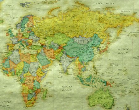 Colorful map of the world showing Asia and Africa