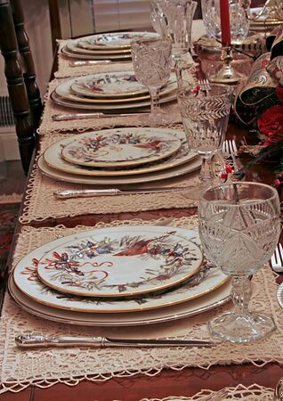 A nice dining table set for Christmas dinner photo