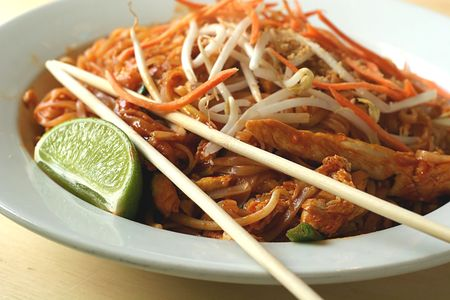 A dish of asian noodles served as pad thai Stock Photo