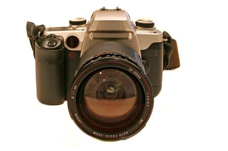 35mm film SLR camera isolated against white Stock Photo