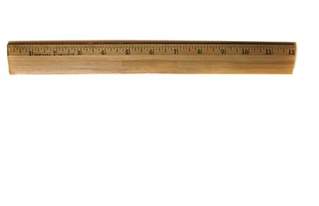 Twelve inch wooden ruler isolated on white background Imagens