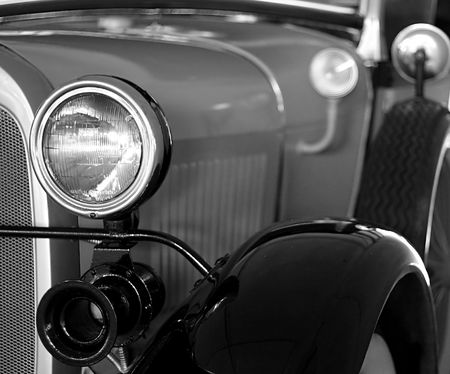 Black and white capture of details of vintage automobile Stock Photo - 720188