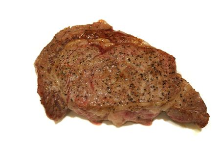 broiled: Ribeye steak seasoned and broiled ready to eat
