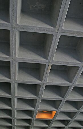 An Industrial ceiling formed of concrete cubes Imagens