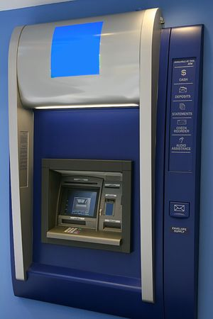 Modern indoor automatic teller machine at a bank