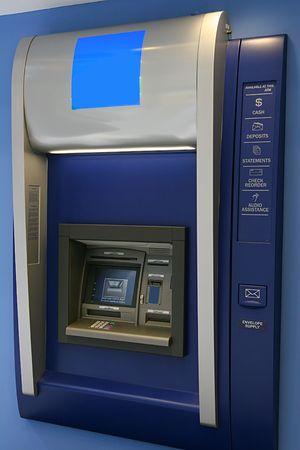 automatic teller machine: Modern interior cajero autom�tico en un banco  Foto de archivo