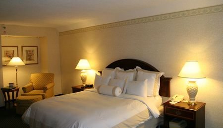 A generic nice hotel room with king bed Stock Photo - 764732