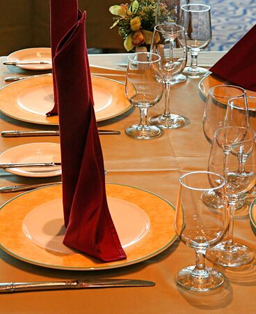 Elegant dinner setting in brown and white Stock Photo - 793250