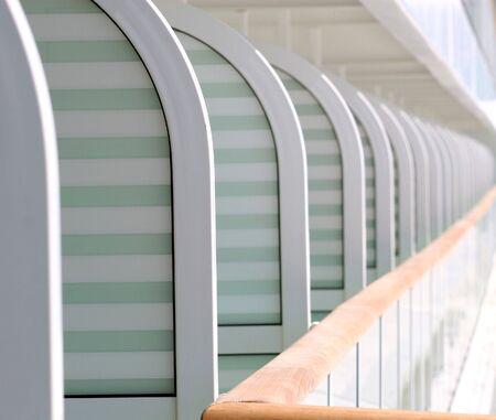 verandas: Rows of verandas on a cruise ship Stock Photo