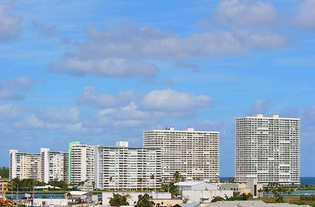 Rows of white coastal condos in ascending heights Stock Photo - 793274
