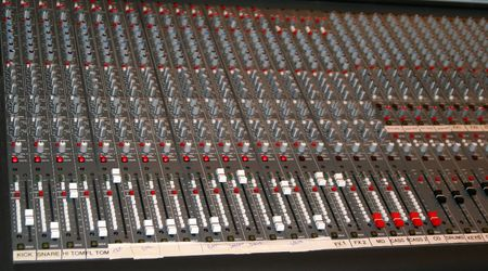 Board used for mixing sound on a live stage
