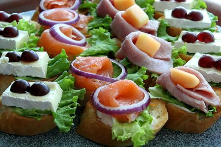 A selection of appetizers on a buffet table Stock Photo