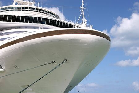 The bow of a cruise ship against the sky