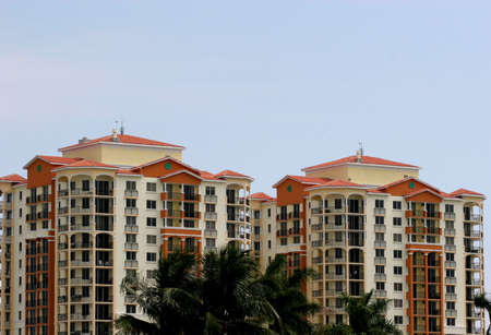 umber: A pair of high rise umber and cream condos