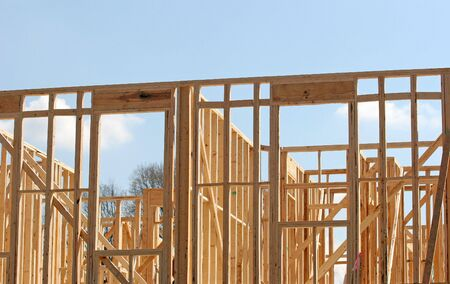 joist: Wood framing in the early construction of an apartment complex