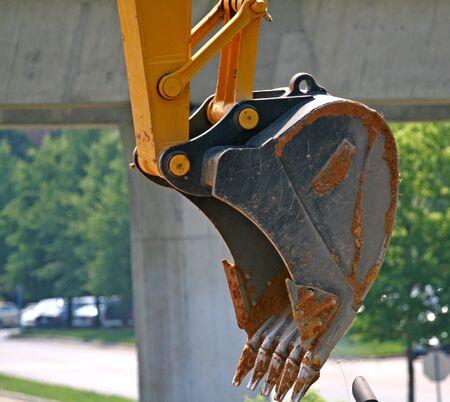 front end loader: Large shovel on a front end loader at job site Stock Photo