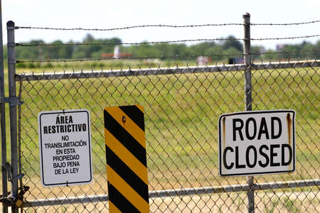 Security fence into restricted military compound Stock Photo - 920824