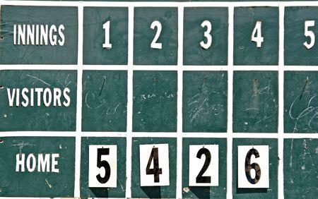 score board: An old fashioned baseball score board