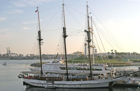 three masted: A large three masted ship in a harbor