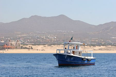 A Mexican ferry boat crossing the bay photo