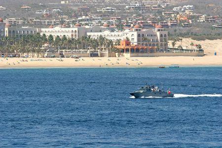 A port patrol boat speeding across the bay Stock Photo - 1118459