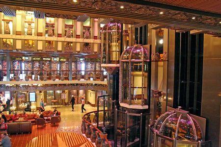 Modern lobby on a large cruise ship Stock Photo