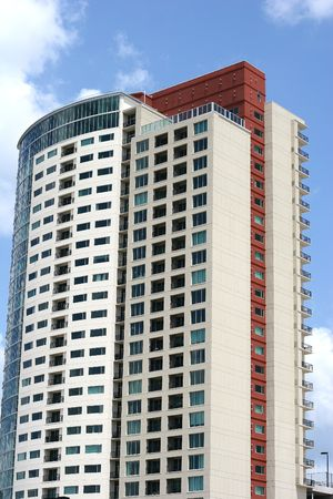 lak�hely: Colorful condo tower rising into the sky