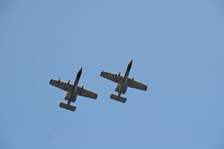 Flyover by two A10 Warthog Fighter planes photo