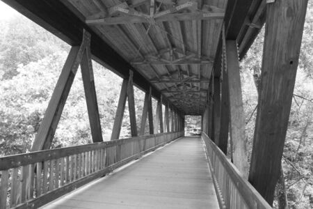 An old wooden bridge captured in black and white Stock Photo - 1291193