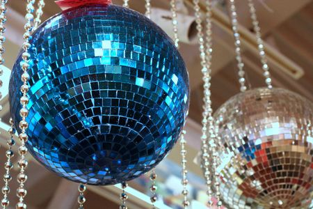 Blue and silver mirrored balls from the disco era