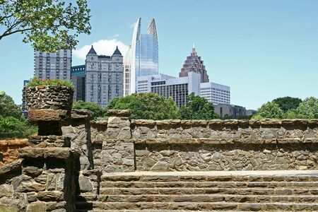 condos: Old granite steps in a park rising towards the skyline