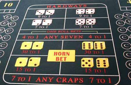 Betting area on a craps table at a casino Stock Photo