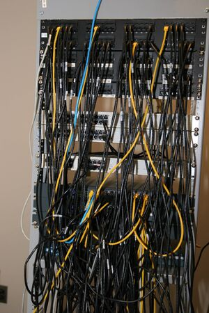A rack containing network patch panels and switches