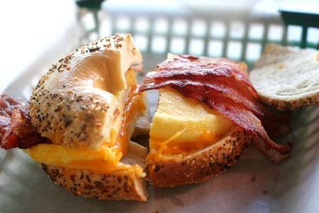 Bacon Egg and Cheese on a toasted everything bagel Reklamní fotografie