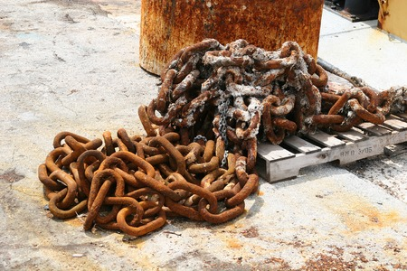 A pile of rusty chain piled on a dock Stock Photo - 1665508