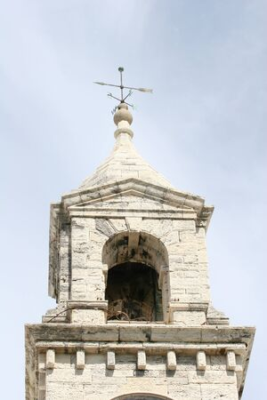 White stone bell tower on an old british outpost