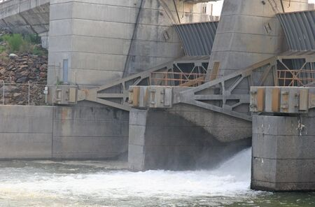 letting: A sluice gate into letting water through a dam