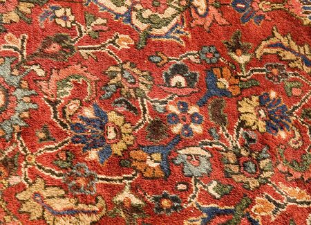 wool rugs: Brightly colored oriental carpet of wool and silk Stock Photo